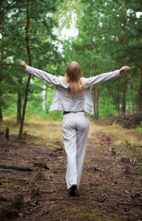 Young woman walking in a forest. Backside view stock photography