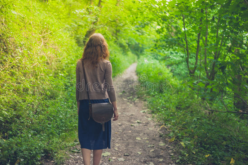 Young woman walking in forest. A young woman is walking in a forest royalty free stock photos
