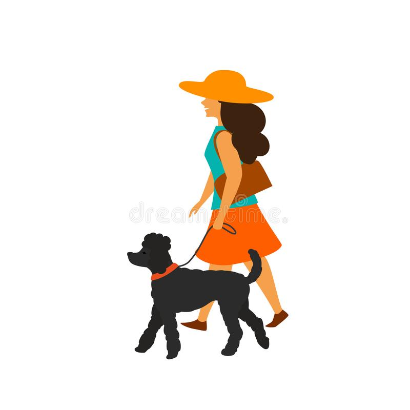 Young woman walking with her dog poodle stock illustration