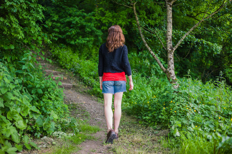 Young woman walking in the woods. A young woman is walking in the woods on a sunny day stock images