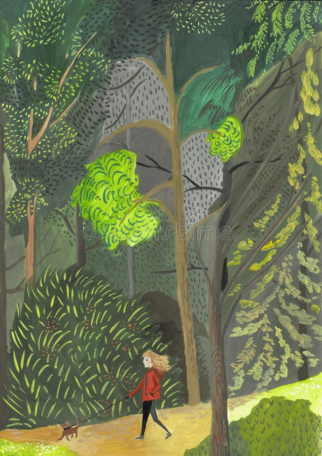 Young woman walks with dog through the woods. Concept girl in green dress with dachshund, poodle, smartphone stock illustration