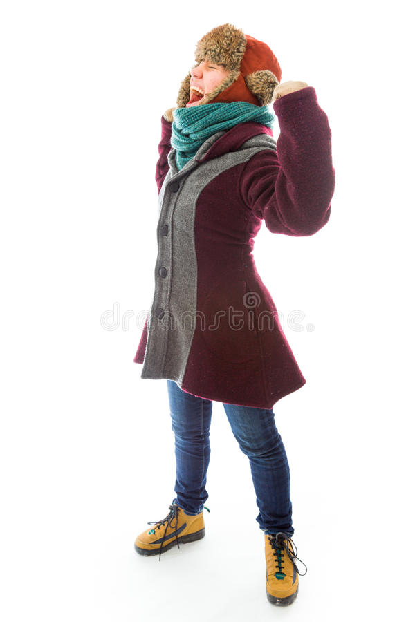 Download Young Woman In Warm Clothing And Celebrating Success Stock Photo - Image: 41945452