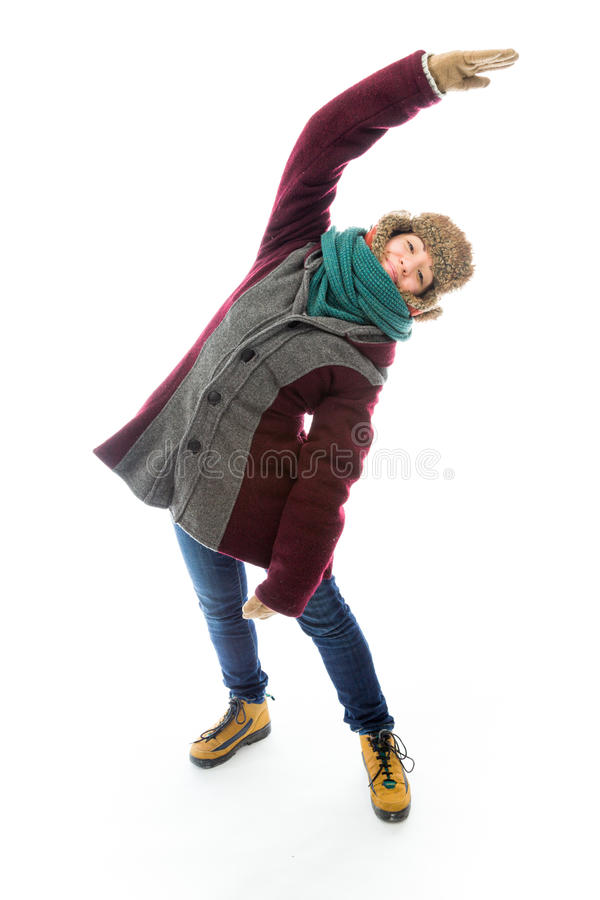 Download Young Woman In Warm Clothing And Stretching Stock Photo - Image: 41945424