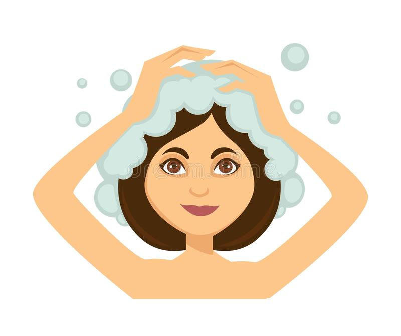 Young woman washing her hair and taking shower stock illustration