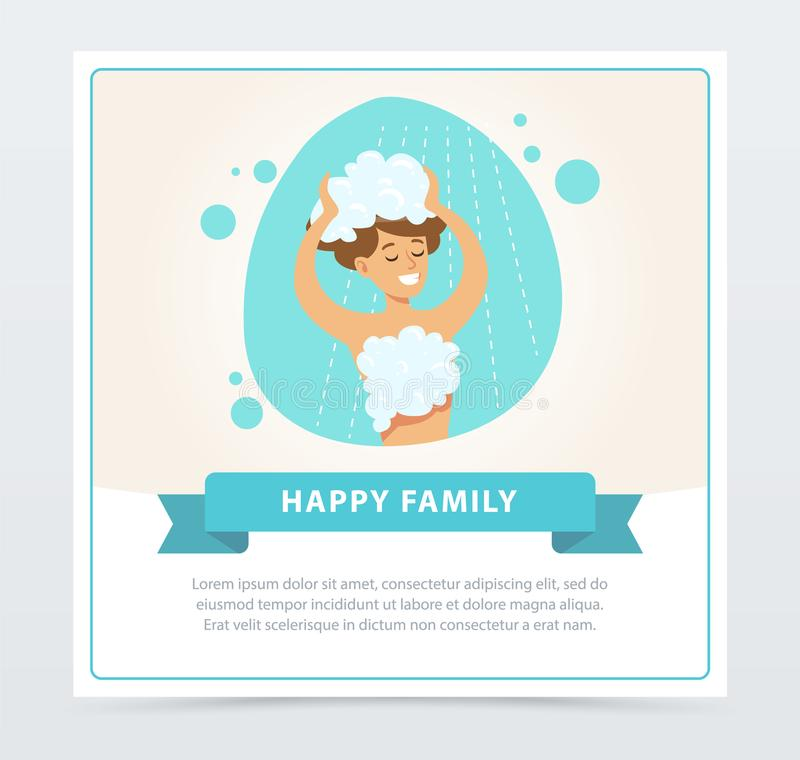 Young woman washing her head with shampoo, daily routine hygiene procedure, happy family banner flat vector ilustration royalty free illustration
