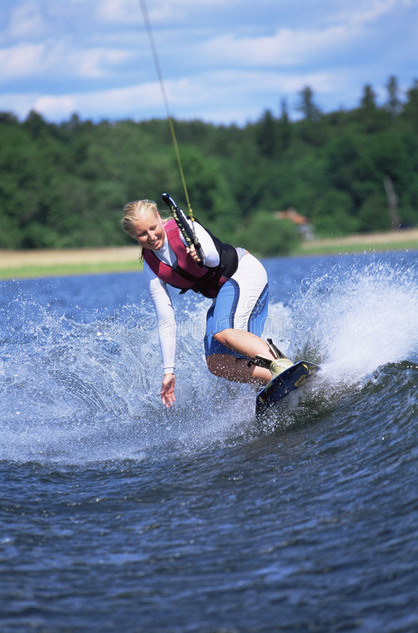 Download A young woman water skiing stock image. Image of exciting - 6076983