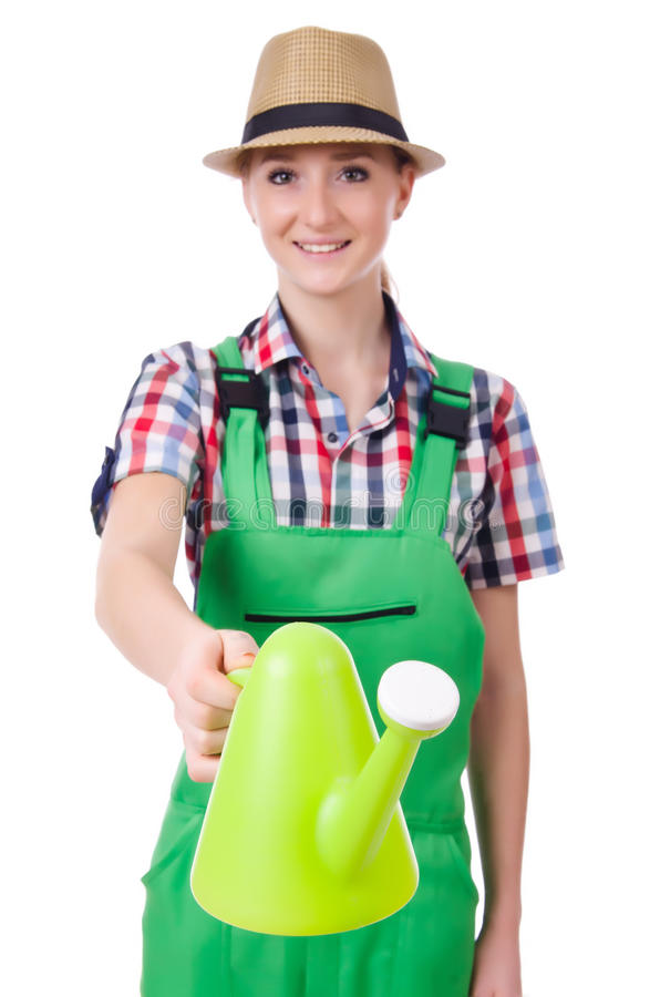 Young Woman With Watering Can Royalty Free Stock Images