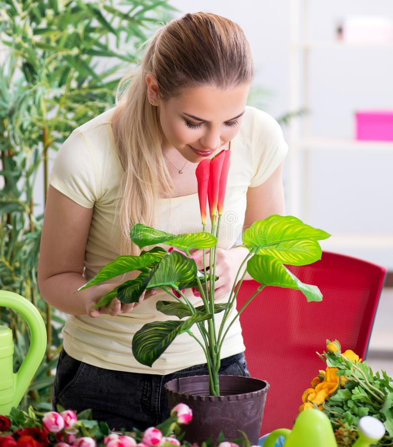 Young woman watering plants in her garden royalty free stock photography