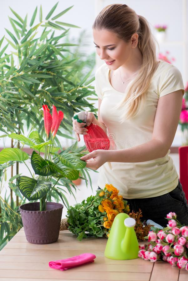 The young woman watering plants in her garden stock photos