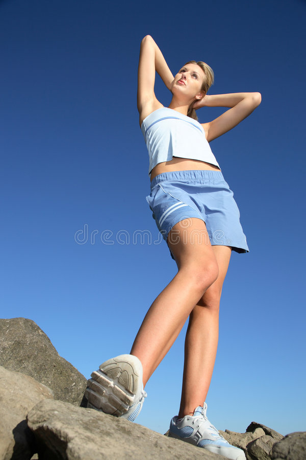 Young woman wearing fitness gear stock photography