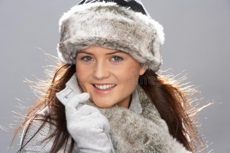 Download Young Woman Wearing Fur Hat And Wrap Royalty Free Stock Photo - Image: 15370685