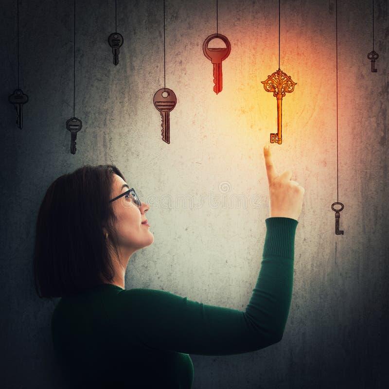 Woman find magic key stock image