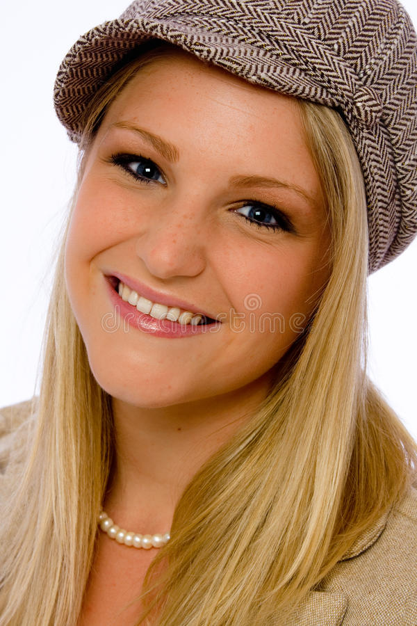 Download Young Woman Wearing Mod Cap Smiles At Camera Stock Image - Image of pretty, close: 14858687