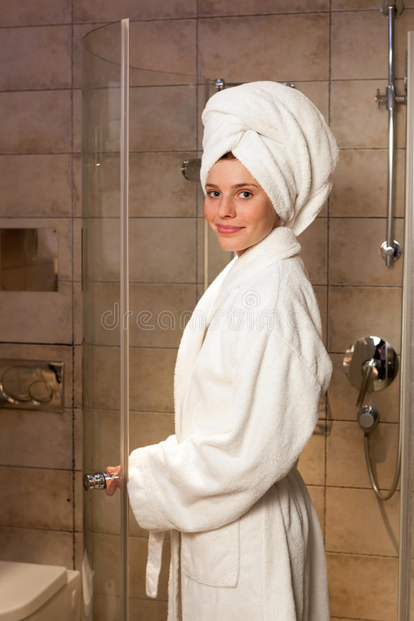 Download Young woman wearing a robe stock image. Image of fresh - 24012607