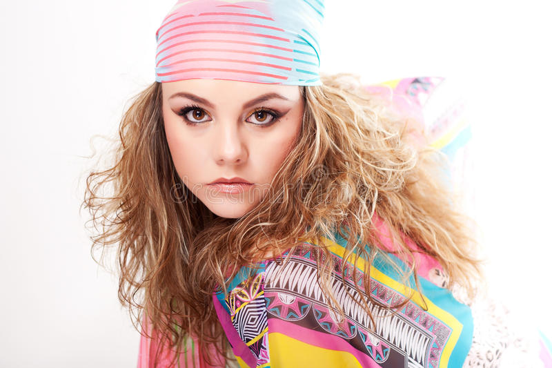 Young woman wearing a scarf stock photos