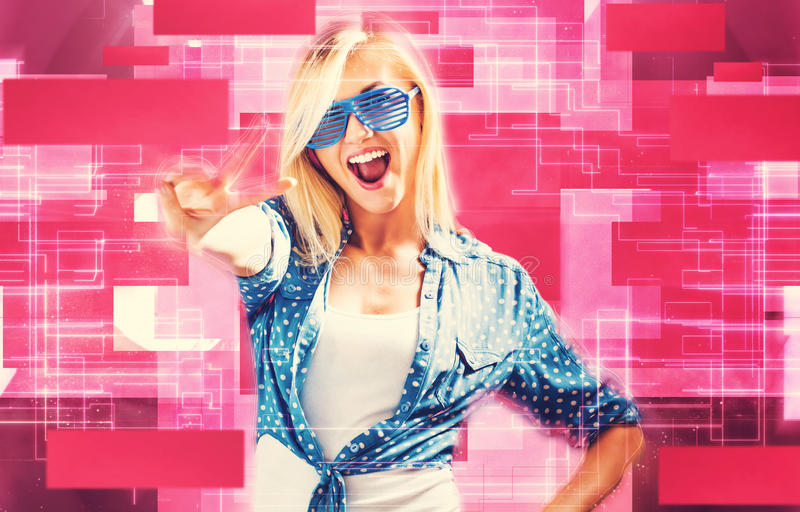 Young woman wearing shutter shades sunglasses stock photography