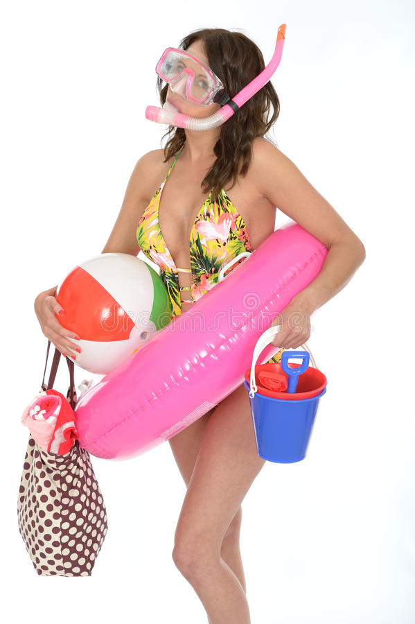 Young Woman Wearing a Swim Suit on Holiday Wearing a Snorkel. A DSLR royalty free image, of young woman ready for her holidays or vacation wearing a skimpy stock images