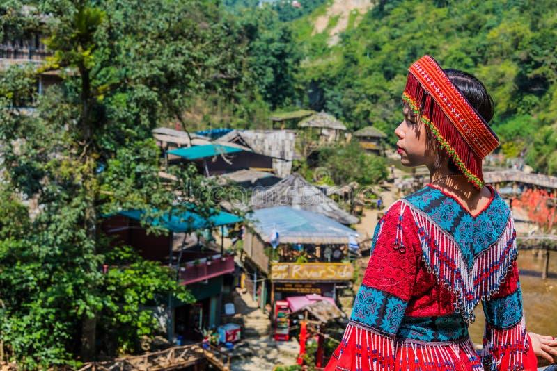 Young woman wearing traditional folk Vietnamese dress stock image