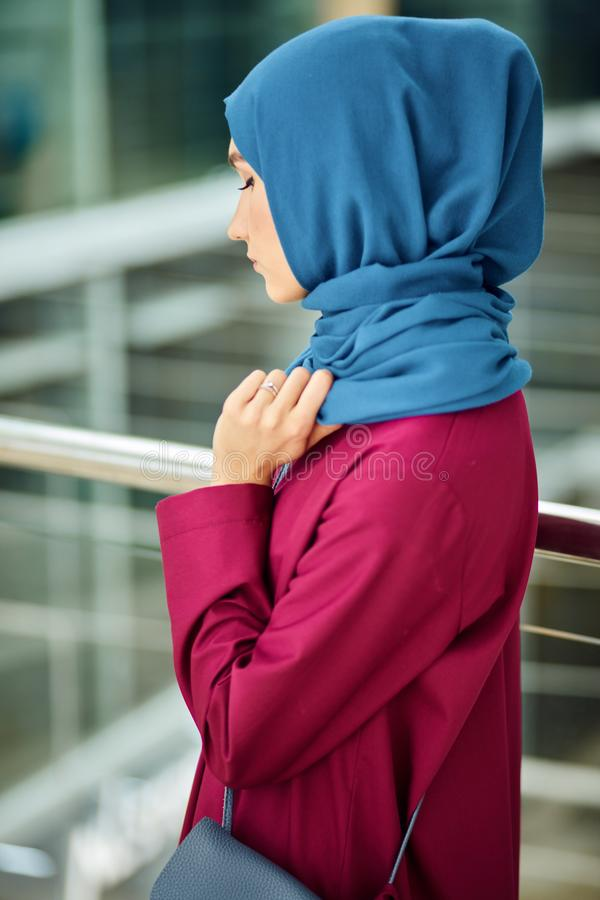 Young Woman Wears Fashionable Traditional Arabic Clothing. Religion and Fashion stock photo
