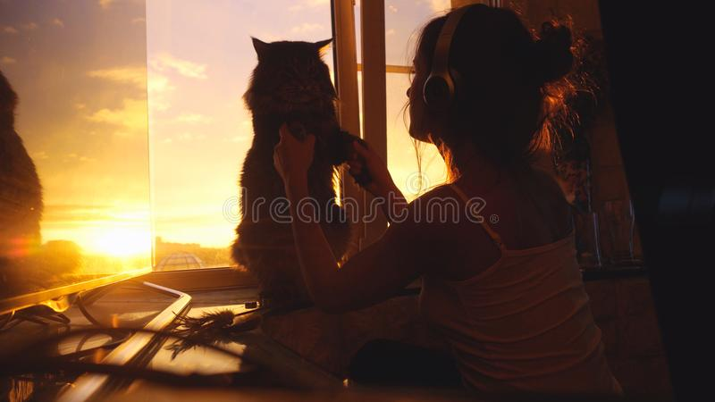 Young woman wears headphones and relaxing with her lovely Maine Coon cat in slow motion at window with blurred city royalty free stock photo