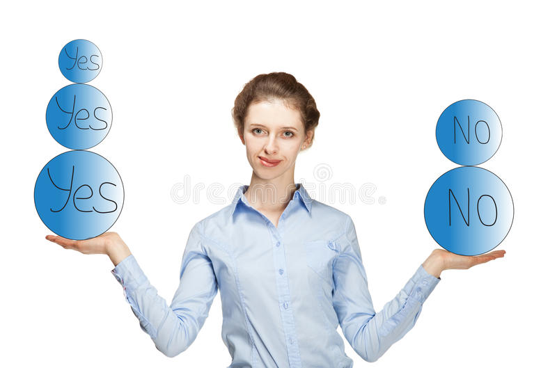 Young woman weighing the pros and cons royalty free stock images