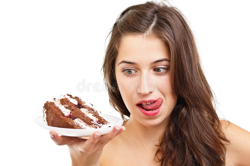 Young woman whit cake stock images