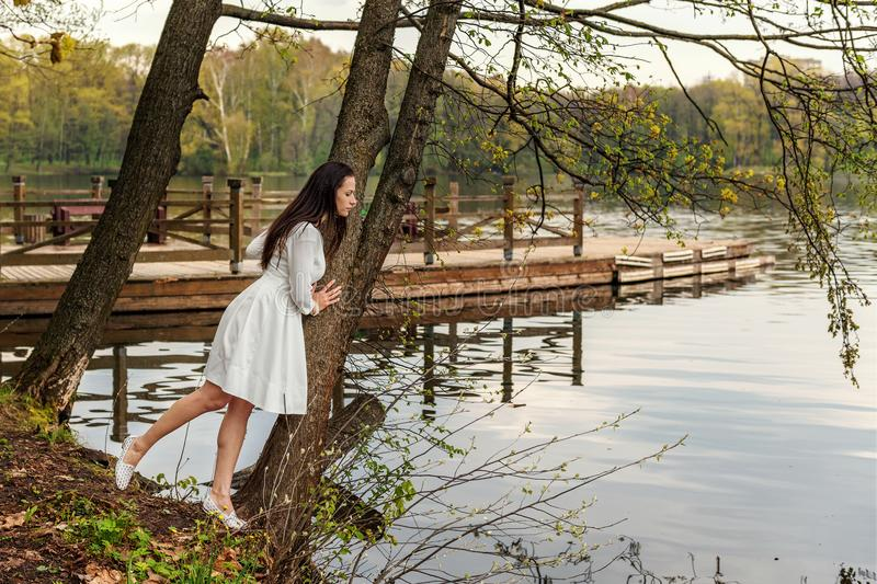 A young woman in a white dress clung to a tree over a lake and looks into the river water stock image