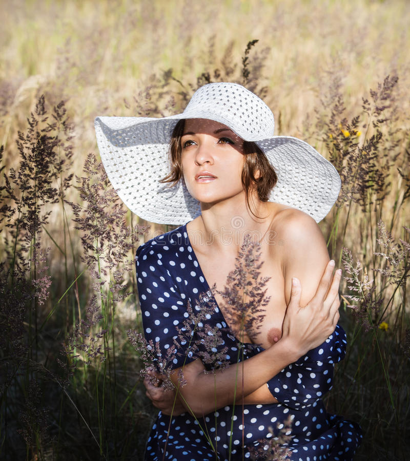 Download Young woman in white hat stock photo. Image of background - 30220754
