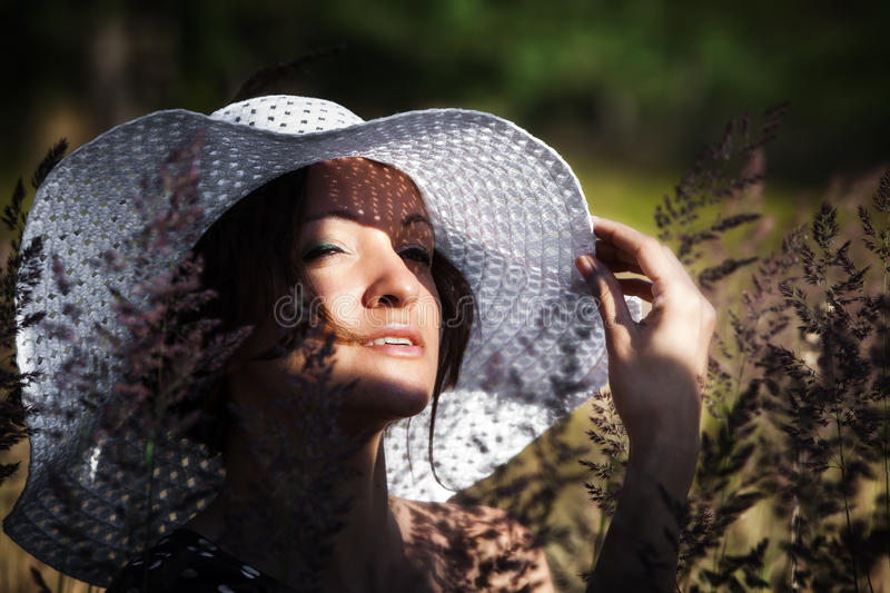 Young Woman In White Hat Royalty Free Stock Image