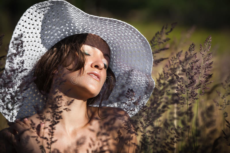 Download Young woman in white hat stock photo. Image of girl, face - 30220758