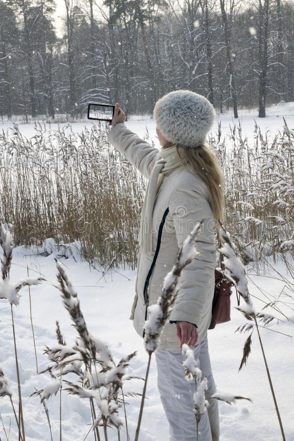Young woman in a white jacket photographs a panorama of the coast of the winter forest lake on the phone royalty free stock photography