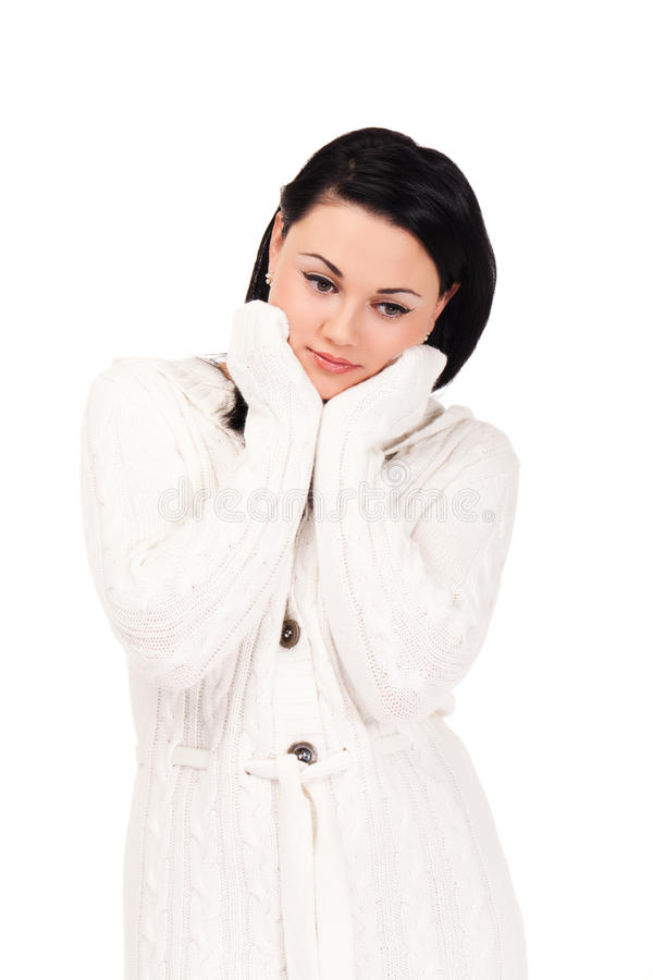 Young woman in white knitted dressing gown. On isolated white background stock photos
