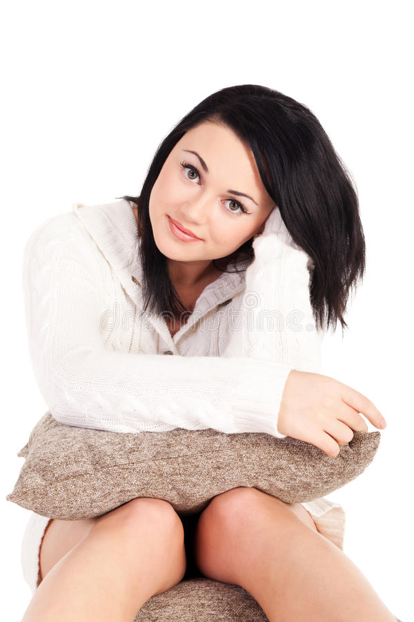 Young woman in white knitted dressing gown. On isolated white background royalty free stock photos