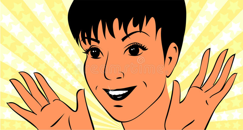 Young woman with white-toothed smile. Portrait young woman are waving hands for joy. She has short hairstyle, nice eyes and white-toothed smile. Portrait made as vector illustration