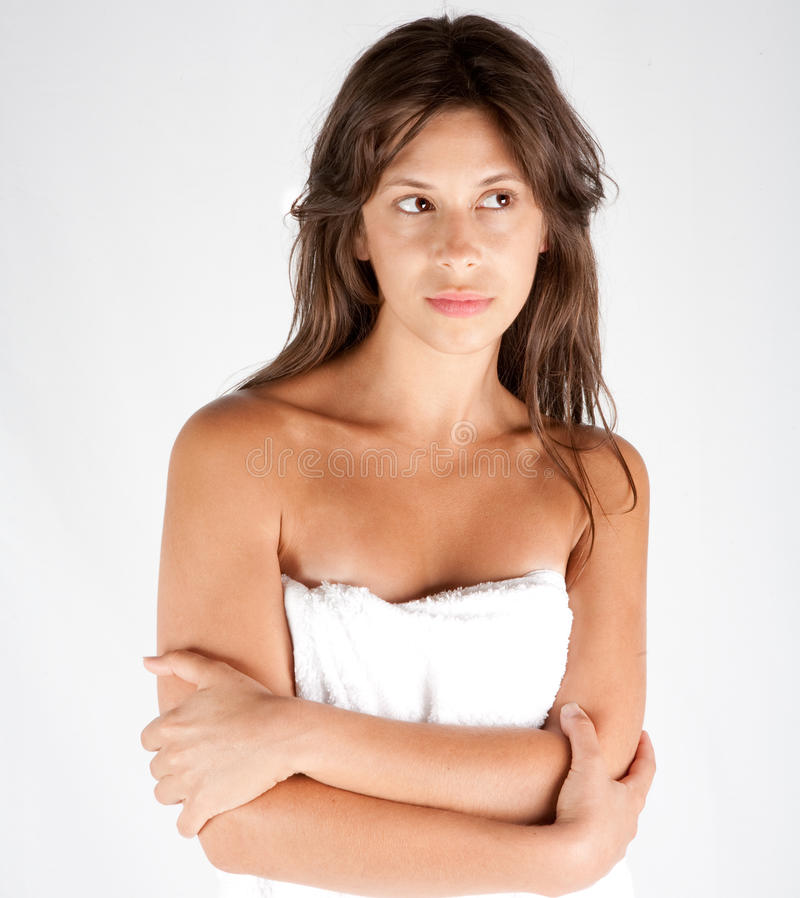 Young Woman in White Towel stock photo