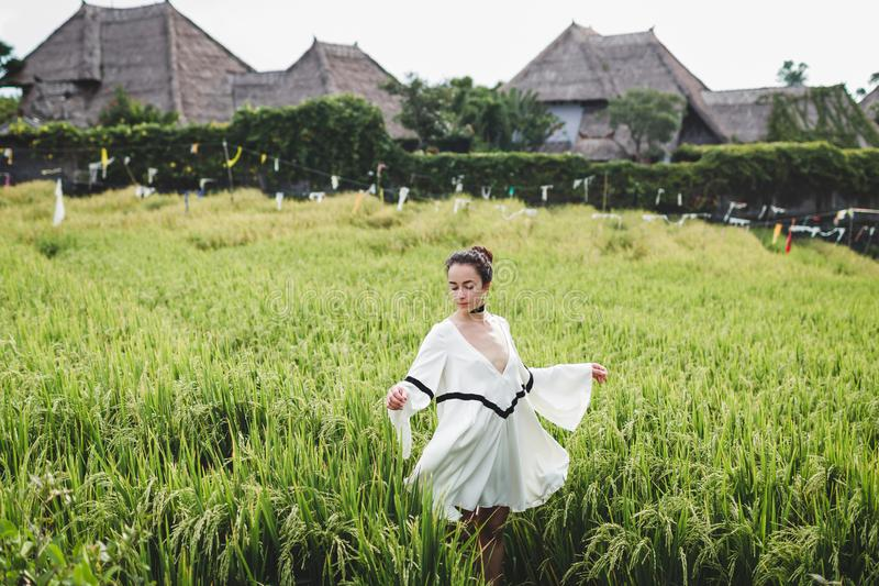 Woman in white tunic in rice fields Bali Tegallalang. Rustic Ubud village. Young woman in white tunic in rice fields Bali in Tegallalang. Rustic Ubud village royalty free stock photography
