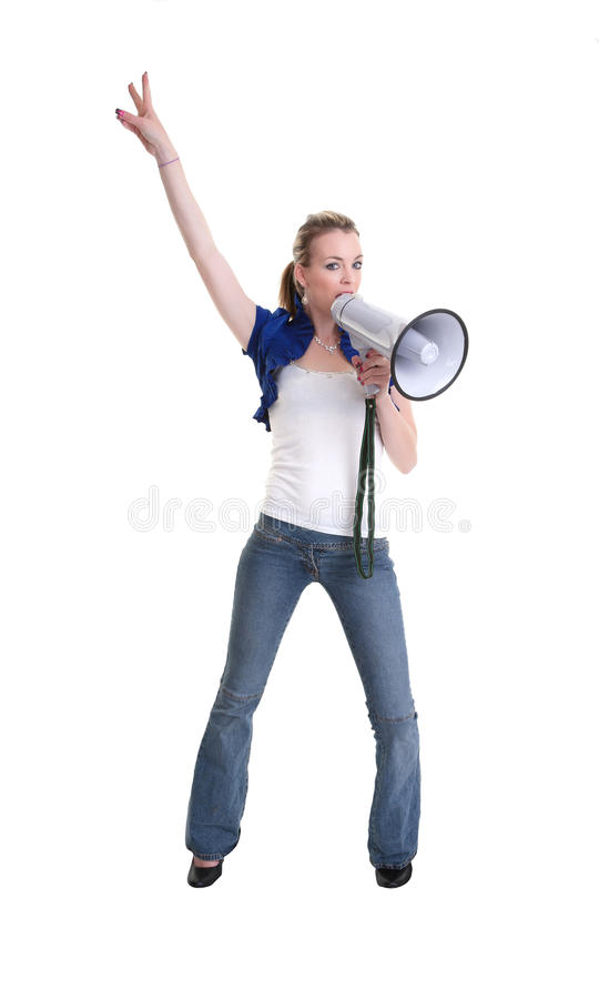 Young woman wiht megaphone or bullhorn. Young woman with a megaphone or bullhorn isolated on white royalty free stock image