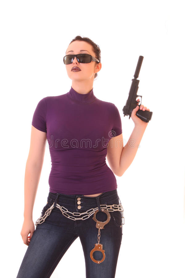 Download Young Woman Win Gun Isolated Stock Photo - Image: 11159634