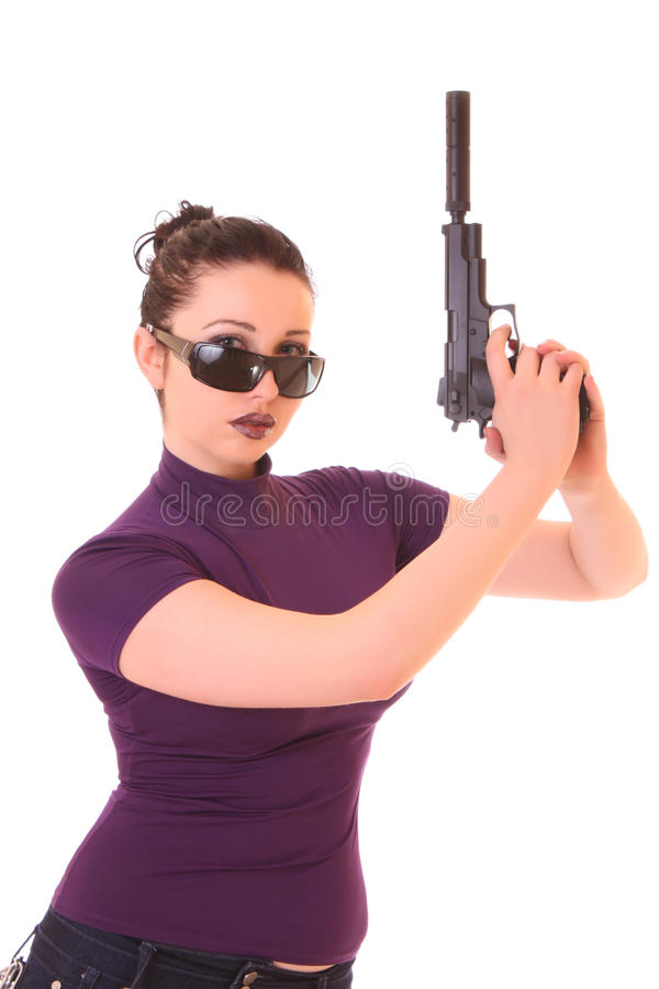 Download Young Woman Win Gun Isolated Stock Image - Image: 11325261