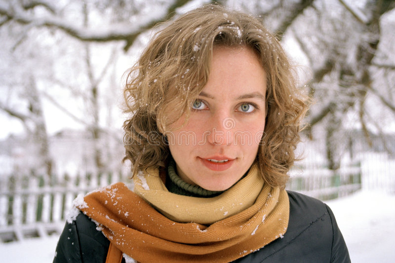 Download Young woman in Winter stock image. Image of single, looks - 155519