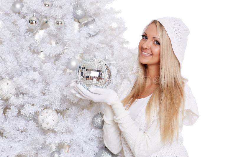Young woman in winter clothes. Christmas royalty free stock photo