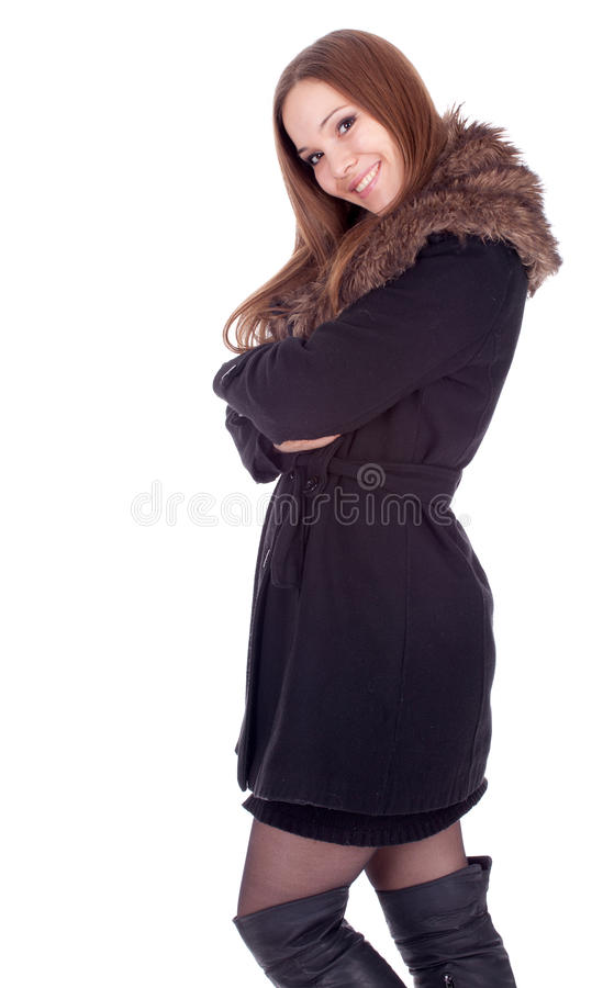 Young Woman In Winter Jacket With Fur Royalty Free Stock Photography