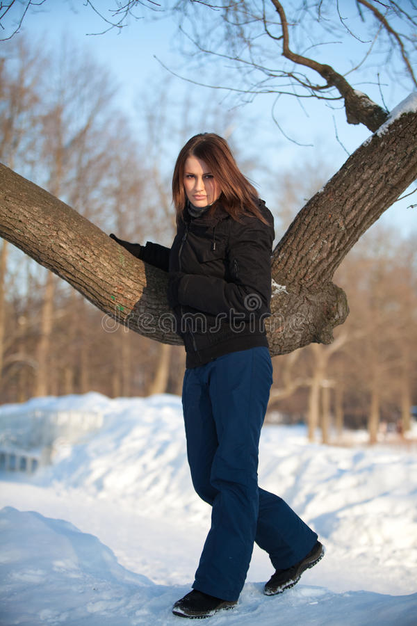 Download Young woman in winter park stock photo. Image of cold - 22915962