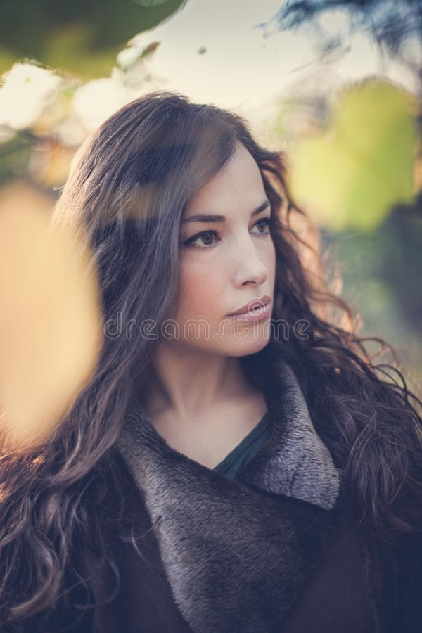 Young woman winter portrait in forest royalty free stock photos