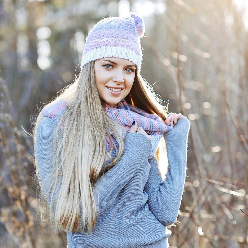 Young woman winter portrait stock photo