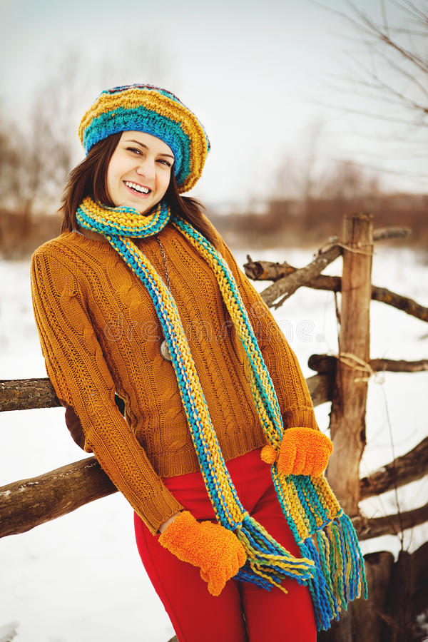 Download The Young Woman In The Winter In Snow Stock Image - Image: 22999815