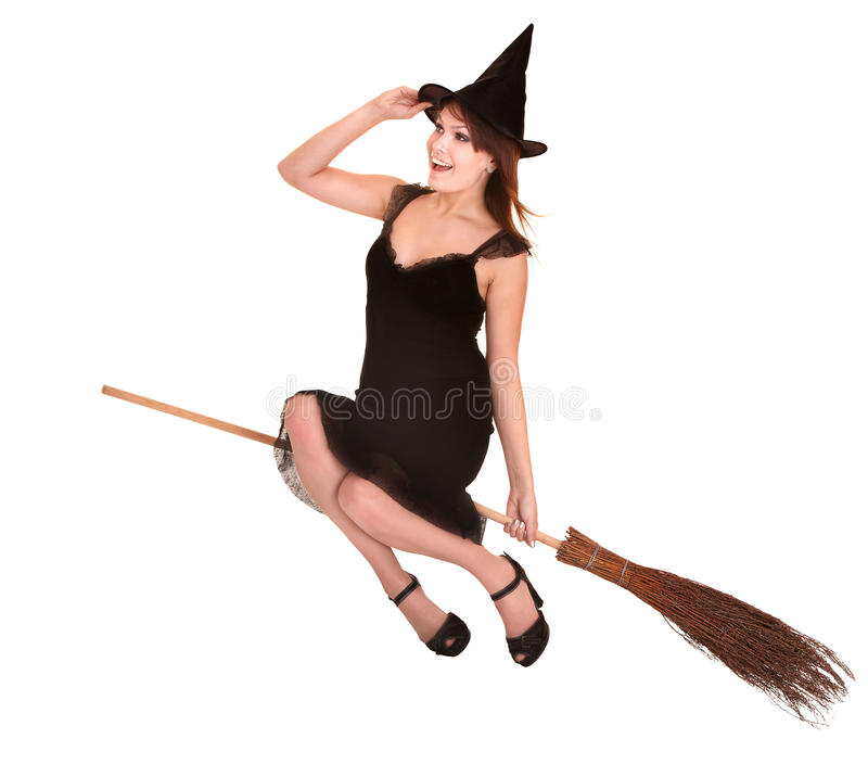 Young woman witch fly on  broom.