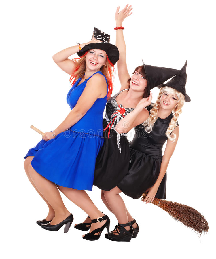 Young woman witch fly on broom. Young women witch fly on broom. Isolated royalty free stock photography