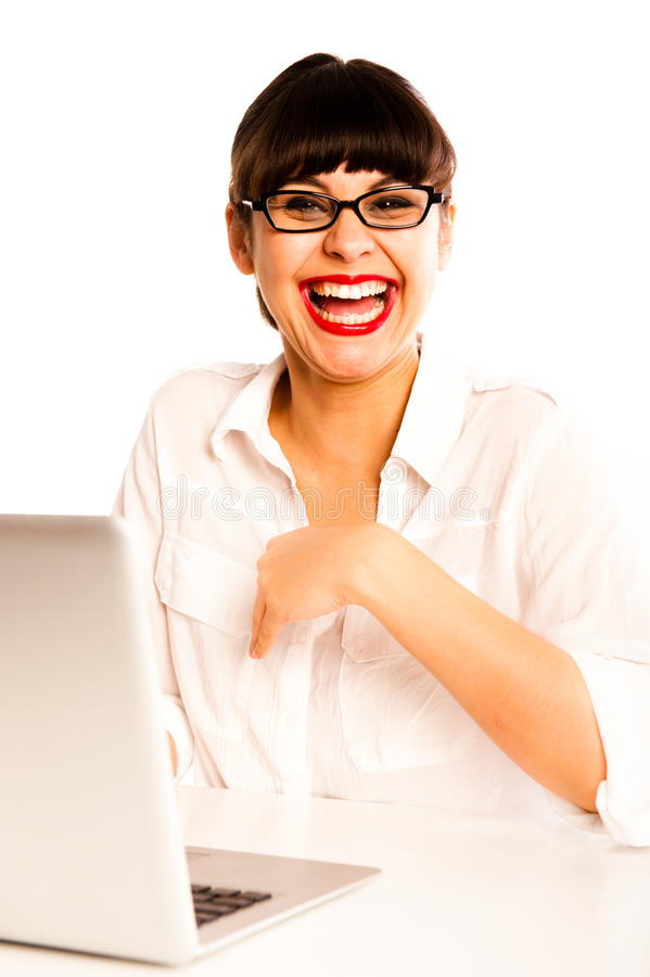 Free Young Woman With Glasses, Laughing With A Laptop. Royalty Free Stock Image - 21544006