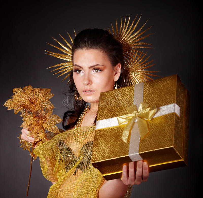 Free Young Woman With Gold Feather On Grey Background. Royalty Free Stock Photo - 15307595